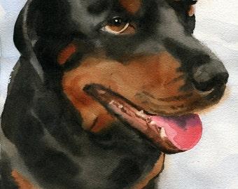 Original Rottweiler Dog Painting Art Watercolor Handmade Black Brown Puppy Pet Portrait
