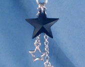 Celestial Black Crystal Star, Moon Star Silver Charms Necklace Steel or Sterling Silver chain