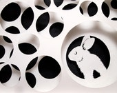 SALE - Handmade Paper Cut Wall Art with Rabbit