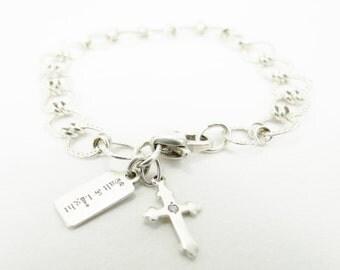 Sterling Silver Square Link Chain Geometric Charm Bracelet  - Cross Charm, Heart Clasp - Christian Bracelet - Salt & Light by Lori Delisle