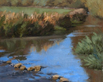 September Blues, landscape plein air oil painting 9x12in