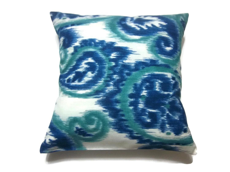 Decorative Pillow Cover Ikat Paisley Design Navy Blue Teal