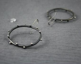 oval polka dot earrings sterling silver oxidized finish french wire large oval dangle earrings