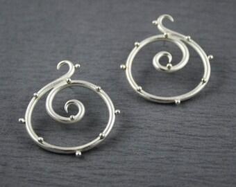 Sterling silver spiral earrings - polka dot earrings - textured stud earrings - stud earrings with bumpy texture