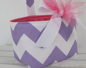 Easter Fabric Basket Bin Basket Bucket Storage Container - Lavender/ White Chevron - PERSONALIZED/ Name Tag Available - See Note in Listing