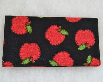Checkbook Cover -  Red Apples