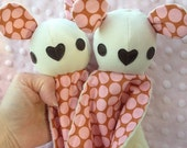 Baby Bunny Cuddle Lovey Minky Blanket with Rattle - Pink and Cream Polka Dots - Baby Girl