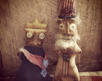 Primitive Doll, Americana Uncle Sam & Liberty