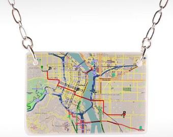 Portland Subway Necklace - Portland map, portland necklace, portland jewelry, portland pendant, portland oregon, oregon necklace