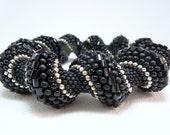 Black is the New Black Cellini Spiral Beadwoven Bangle Bracelet