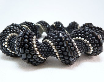 Black is the New Black Cellini Spiral Beadwoven Bangle Bracelet