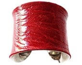 Red Ostrich Leather Cuff Bracelet - by UNEARTHED