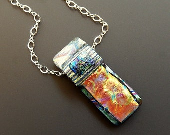 Fused Dichroic Glass Rectangular Flame Channel Pendant with 18 inch Sterling Silver Link Chain