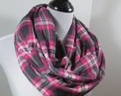 Black, pink n white Tartan plaid brushed cotton flannel infinity circle scarf- women autumn fall winter cowl shawl fashion gifts