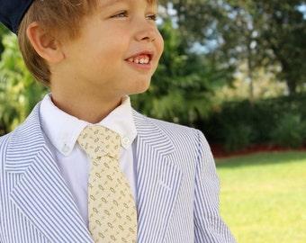 Boys Christian Religious Necktie - Cream with Cross & Fish, Cotton Neck Tie, infant baptism necktie, child first communion tie, confirmation