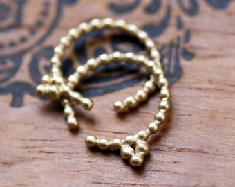 14k gold beaded hoop earring - tiny gold hoop - small huggie hoops - recycled gold - unique artisan henna jewelry - handmade ready to ship