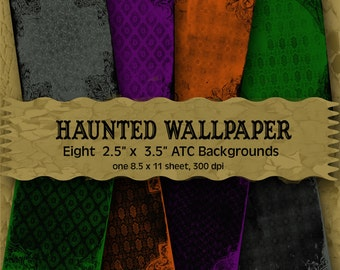Haunted Wallpaper - Digital ATC Backgrounds