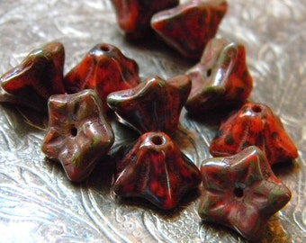 Burnished Orange Blossoms (10) -Czech Glass Bell Flowers 9x6mm