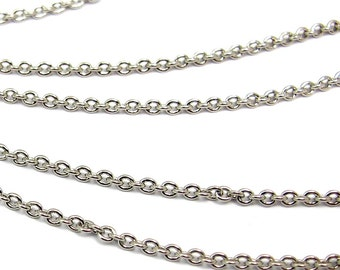 Rhodium Plated on Brass Cable Chain (6 feet) (C803)