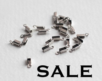 Silver Plated Fold Over Crimps (48X) (F547) SALE - 50% off