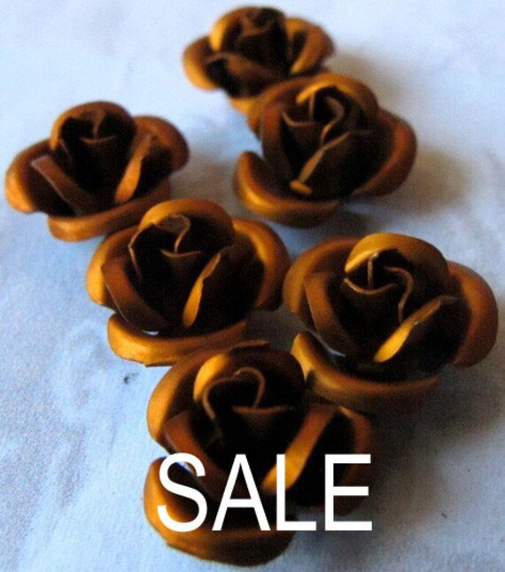 LAST Set - Anodized Aluminum Brown Rose Charms / Beads (12X) (12mm) (M611) - H A L F O F F