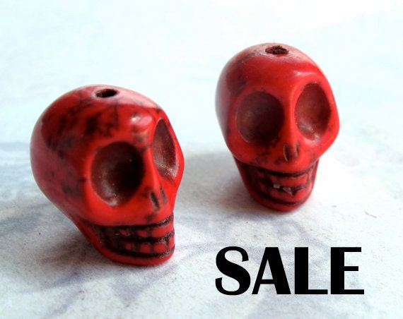 LAST Set - Large Dyed Bright Red Howlite Skull Beads (5X) (NS527) S A L E - 66% off