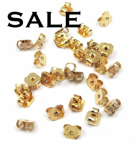 last set gold plated butterfly earring backs 60x by epochbeads