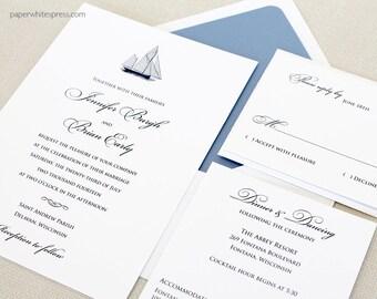 Sailboat Wedding Invitations, Nautical Wedding Invitations, Sailing Invitations, Beach Wedding Invitations, Yacht Wedding Invitations