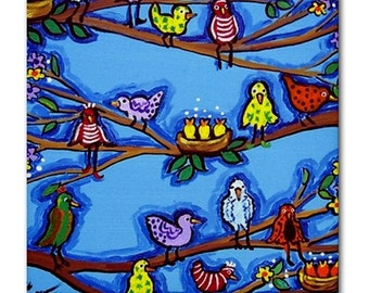 Whimsical Birds Blossoms Blue Folk Art Ceramic Tile