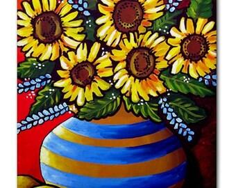 Sunflowers Striped Vase Floral Whimsical Colorful Folk Art Ceramic Tile