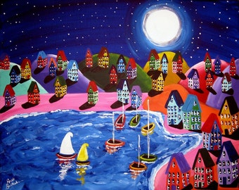 Colorful Artwork Night Sail Whimsical Sailboats Shoreline Folk Art Giclee PRINT