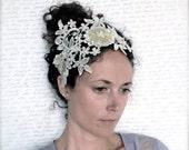 Bridal Crown - Lace Headpiece - Lace Floral Crown - Wedding Headpiece - Lace Headband - Bridal Headband - embellished lace - Beaded Lace