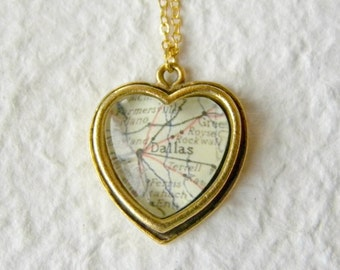 Dallas, Texas Map Necklace - Petite Heart Shaped Dallas Map Necklace CHOOSE from 16 maps