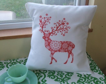funky reindeer  throw pillow cover, Christmas pillow