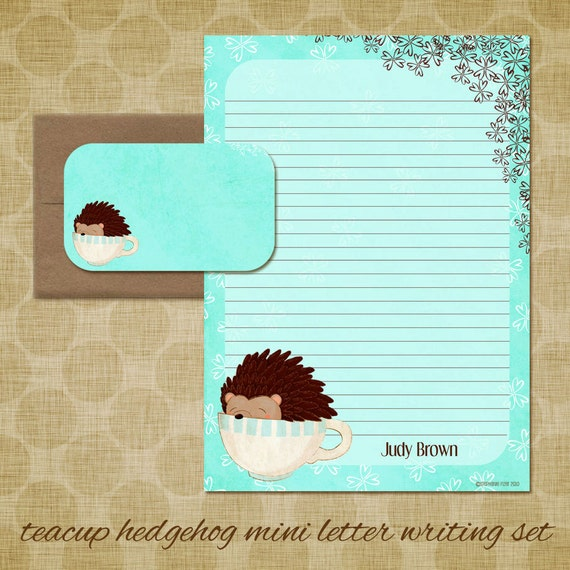 Personalized Stationery - Hedgehog Mini Letter Writing Set - Little Forest Hedgehog - Cute - Kids Stationery gift forest animal hedgie