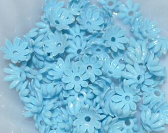 Vintage Baby Blue Plastic Flowers (16)