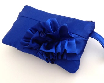 Electric Blue Satin Curve Ruffled Clutch