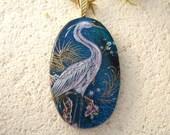 Egret Necjklace - Exotic Bird - Egret Pendant - Dichroic Fused Glass Jewelry- Dichroic Glass Pendant - Necklace Dichroic Jewelry 091114p112