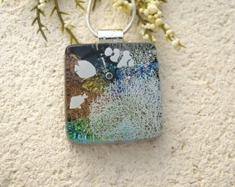Coral Reef, Fish Sea Life, Ocean Necklace, Dichroic Jewelry, Fused Glass Jewelry, Necklace Included, Glass Jewelry, Ocean Jewelry 110215p104