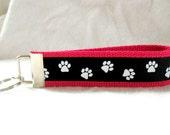 Paw Print Key Fob PINK Black Animal Key Chain Wristlet School Spirit Keychain