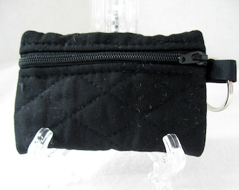Black Quilted Coin Purse - Keychain Coin Purse - Black Change Purse - Small Zippered Pouch - Black Earbud Case