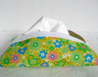 Pocket Tissue Holder Flowers Hearts Yellow Travel Size Cozy