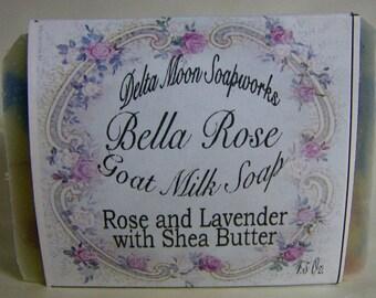 Rose and Lavender blend Goat Milk Soap, Shea Butter soap, Vintage Rose, cold process soap, Lavender soap, swirled soap, Mothers Day gift