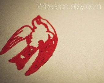 Tattoo style Swallow in Flight Rubber Stamp Bird