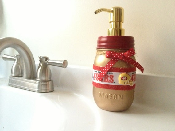 Items similar to 49ers mason jar mason jar soap dispenser for 49ers bathroom decor