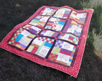 Patchwork, and Hand Embroidered Quilt, Raggedy and Friends