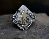 Connected – Emerging – dendritic limestone, prehnite, iolite and sterling silver ring