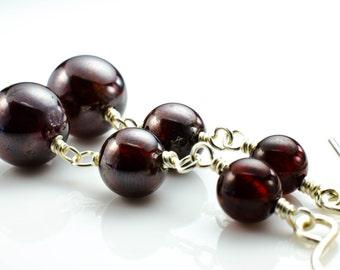 Winter Berry Garnet Sterling Silver Gemstone Earrings January Birthstone