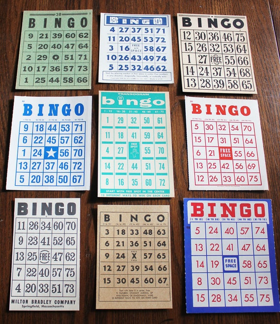 Great Lot of 9 Vintage Bingo Cards- All Different