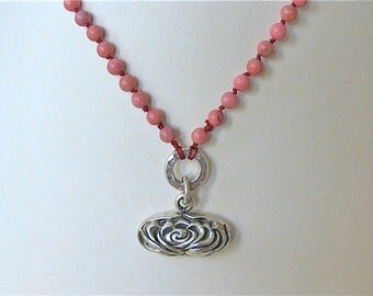 OOAK Pink Rhodonite hand knotted necklace with flower pendant